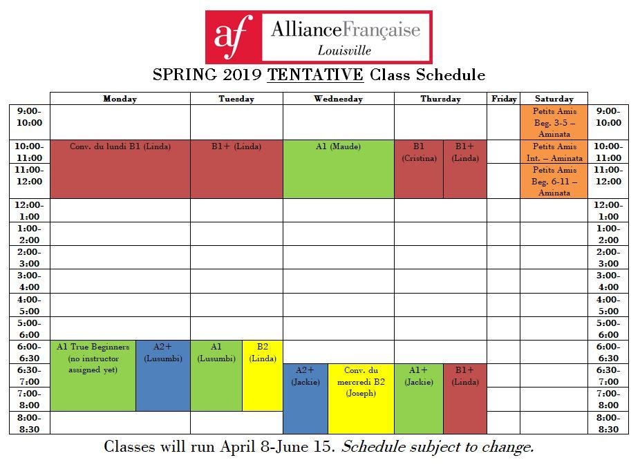 tentative schedule spring 2019